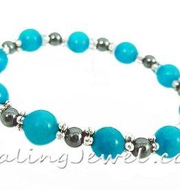 VibeZZ VibeZZ edelsteen armband: 'helder hoofd',  met turquoise kwarts en hematiet