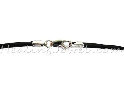 rubber collier, 45cm, groen, zilver slotje, voor hangeroog >3 mm
