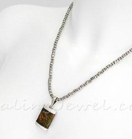 plain ketting Tibetaans zilver handgemaakt, voor hangeroog >5 mm