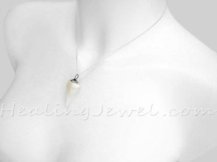 agaat hanger punt, witte streepagaat, zilveren bail