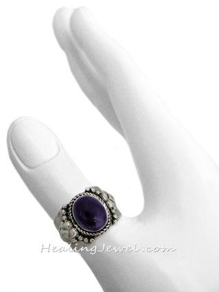 schitterende ring amethist donker, sterling zilver