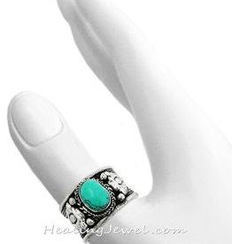 ring turkoois en Tibetaans zilver, verstelbaar