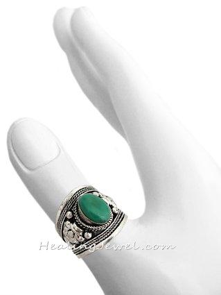ring turkoois en Tibetaans zilver, donkere turkoois, verstelbaar