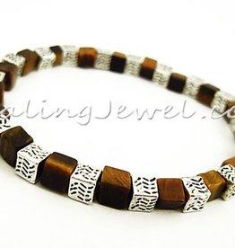 elastische armband tijgeroog, gele, met Tibetaans zilver, div. maten