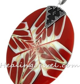 hanger parelmoer / schelp, rood/wit/creme, sterling zilver