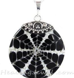hanger parelmoer, zwart/creme, sterling zilver