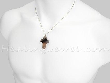 sardonyx hanger kruisje, m.n. wit, beetje zwart/terra