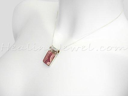 hanger rhodochrosiet, sterling zilver