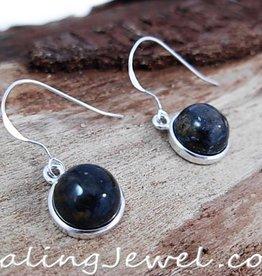 edelsteen oorhangers pietersiet, blauwbont, rondjes, sterling zilver