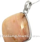 hanger opaal, roze, sterling zilver, vierkante ruit