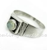 ring regenboog maansteen, sterling zilver, maat 16