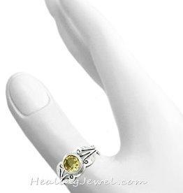 edelsteen ring citrien, facetgeslepen, sterling zilver