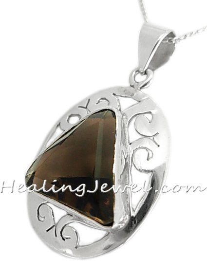 hanger gefacetteerde rookkwarts, sterling zilver