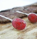 edelsteen oorhangers koraal, rode sponskoraal, sterling zilver
