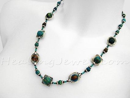 Happy Healthy Me exclusief edelsteen collier met blauwe jaspis en Tibetaans zilver