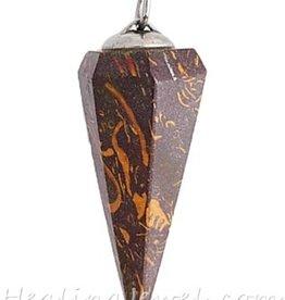 jaspis hanger punt, bruine slangenjaspis, donkere kleur