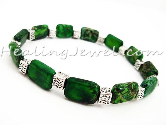 edelsteen armband jaspis, groene oceaanjaspis, elastisch