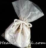 satijnen zak met 250gr. zwarte toermalijn trommelstenen