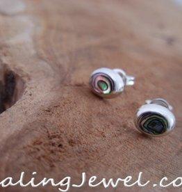 oorstekers parelmoer, ovaaltje in sterling zilver