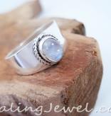 regenboog maansteen ring, sterling zilver, breed model
