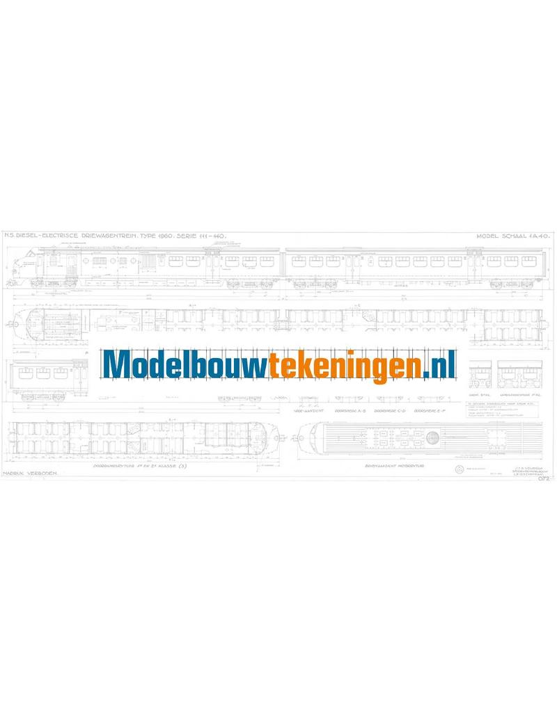 """NVM 29.04.072 NS Diesel-Electrisch 3-wagen treinstel type 1960 Serie 111 - 140 """"Plan U"""" voor spoor 0"""