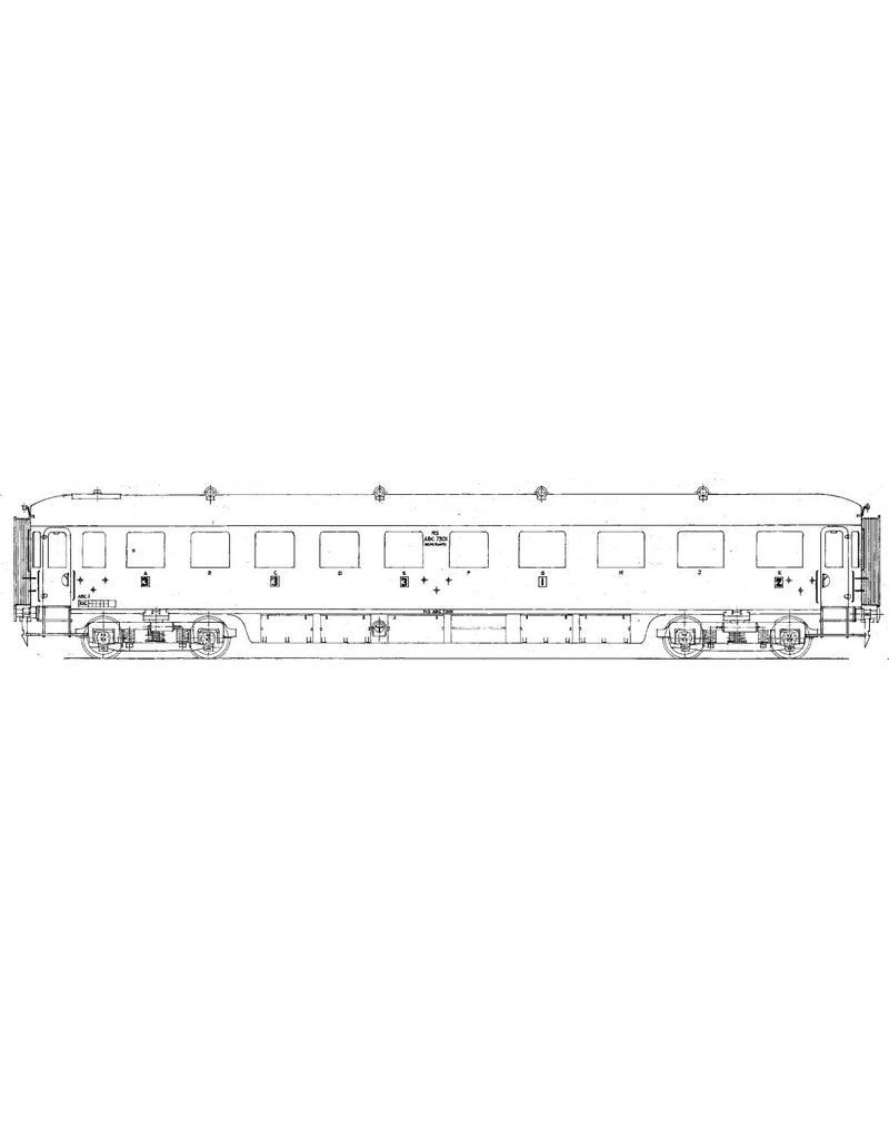 NVM 29.05.013 NS Doorgangsrijtuig 1e, 2e en 3e klasse ABC 7301 - 7303 voor spoor 0