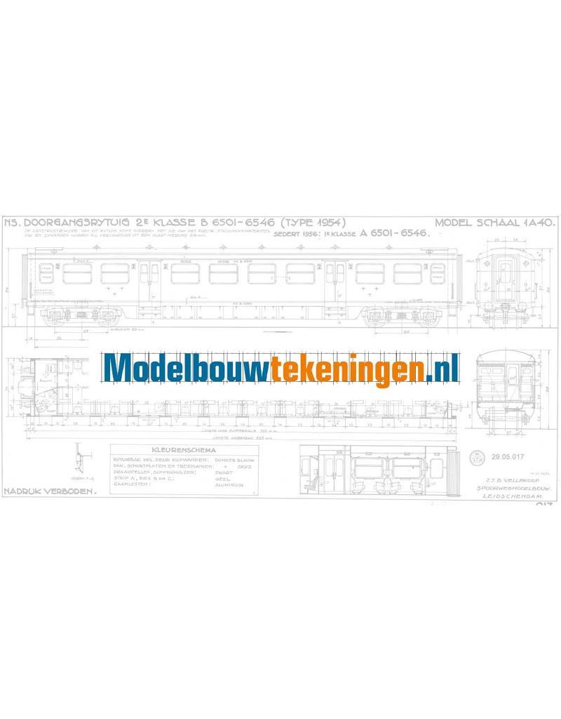 NVM 29.05.017 NS Doorgangsrijtuig 2e klasse B 6501 - 6546 voor spoor 0