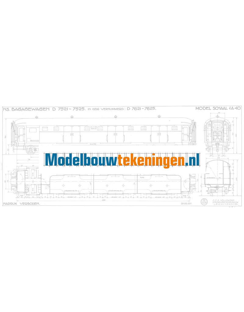 NVM 29.05.031 NS bagagewagen D-7521 - 7525 voor spoor 0