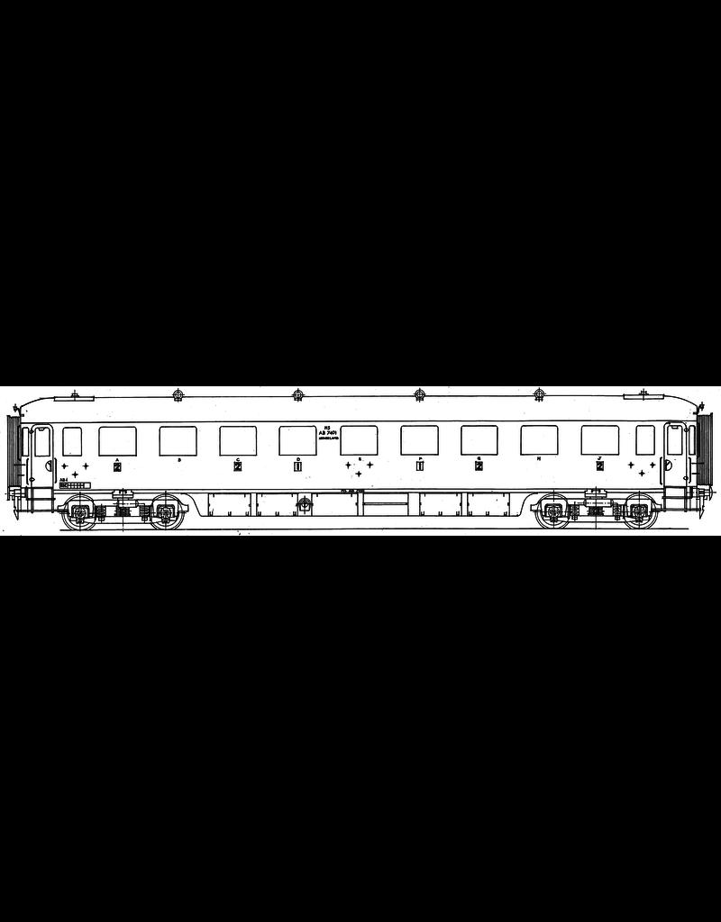 NVM 29.05.032 NS doorgangsrijtuig 1e en 2e klasse AB 7401 - 7410 voor spoor 0