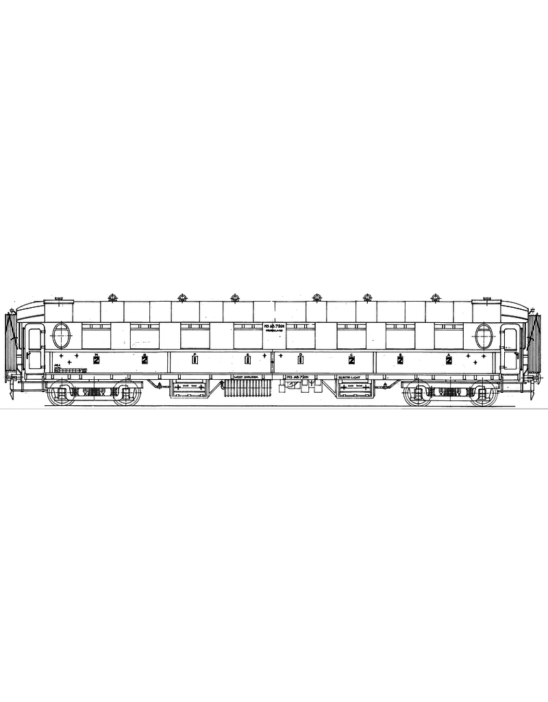 NVM 29.05.034 'NS dooorgangsrijtuig 1e en 2e klasse AB 7201 - 7221, hernummerd na 1956 voor spoor 0