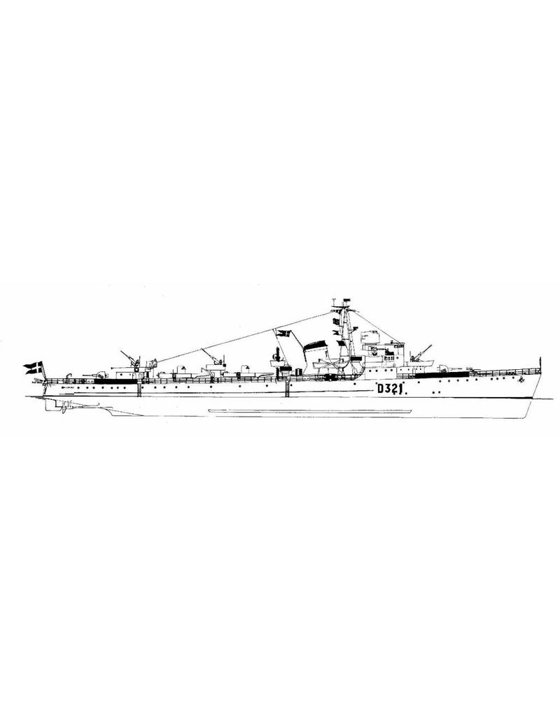 """NVM 10.11.015 Deense torpedojager """"Huitfelt"""" D320, """"Willemoes"""" D321 (1947)"""