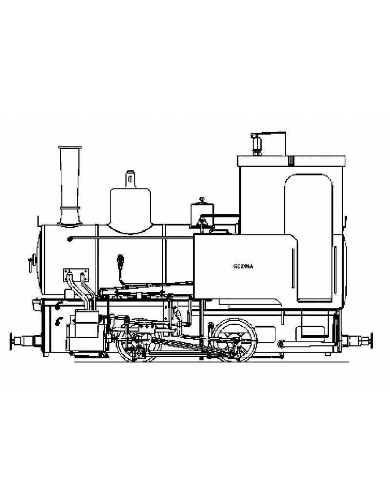 """NVM 20.20.020 smalspoorlocomotief Gea, naar de Gezina en Catja; voor spoor 3,5"""" (89 mm)"""