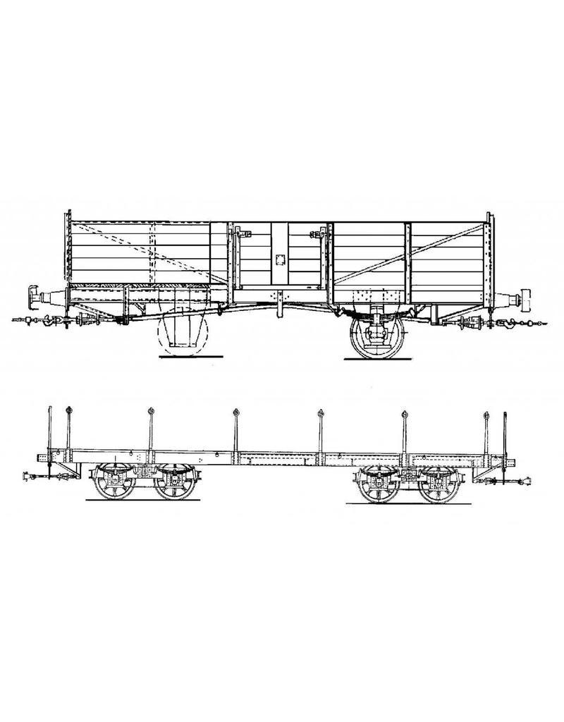 NVM 20.76.013 GOSM open goederenwagen 123 - 127; truckwagen 94 (Werkspoor)