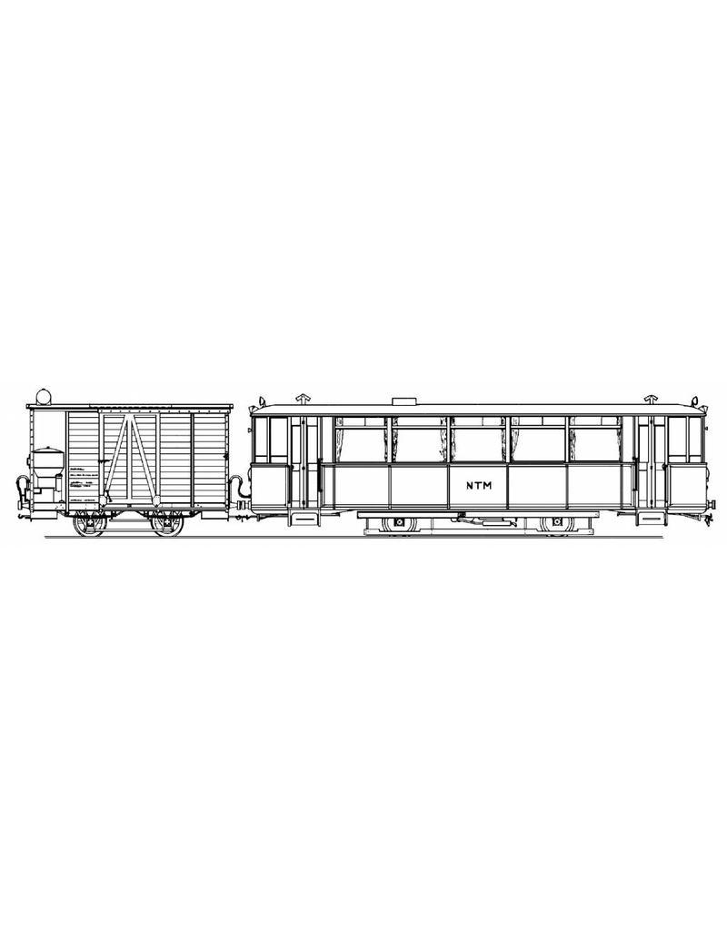 NVM 20.79.004 NTM motorwagen M1,2,7 met bagagewagen met houtgasgenerator; voor spoor 0