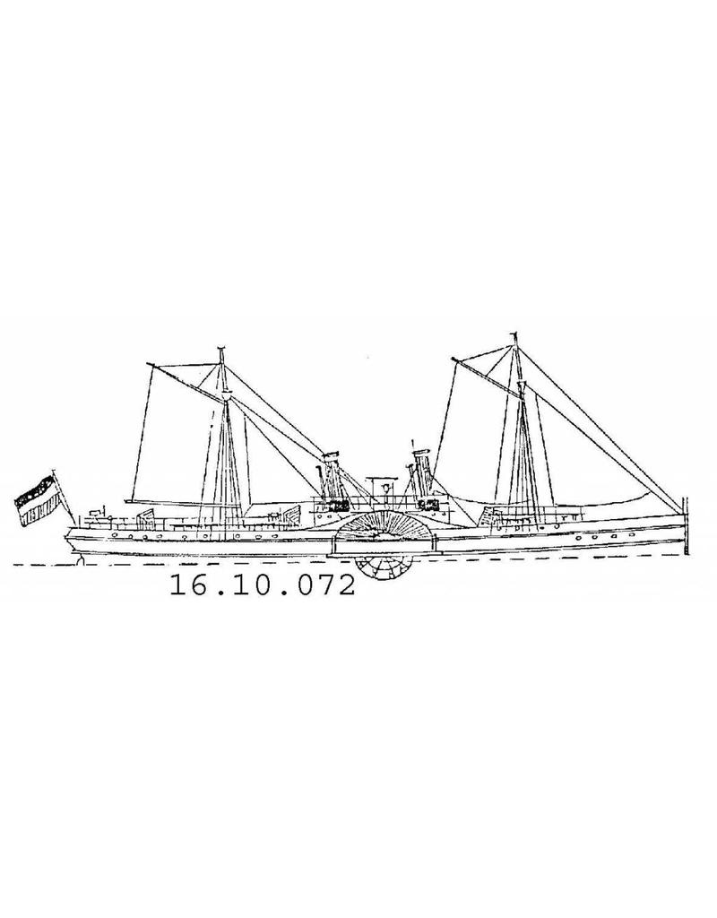 """NVM 16.10.072 raderstoomschip voor de pass.dienst op Suriname """" Curacao"""" (1849) ex Zr.Ms. Curacao (II)"""