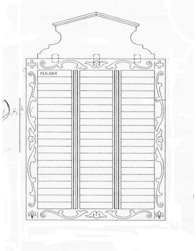 NVM 45.26.014 memento mori bord en voorzittershamer