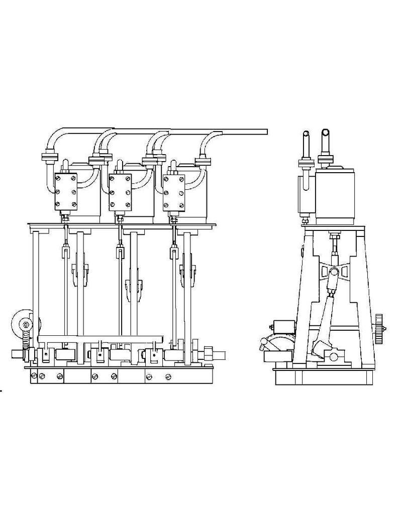NVM 60.01.031 3 cilinder stoommachine met Hackworth stoomverdeling