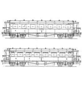 NVM 29.05.132.2 HSM Doorgangsrijtuig 1e klasse 1101-1104 (NS C 8018-8021) en 2e klasse 1101-1105 (NS 8001-8--5 spoor 0)