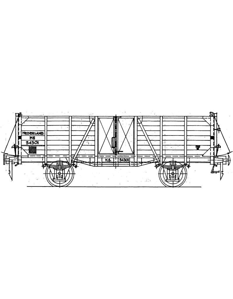 NVM 29.06.084 NS 21,5 tons open goederenwagen 54301-54783, voor spoor 0