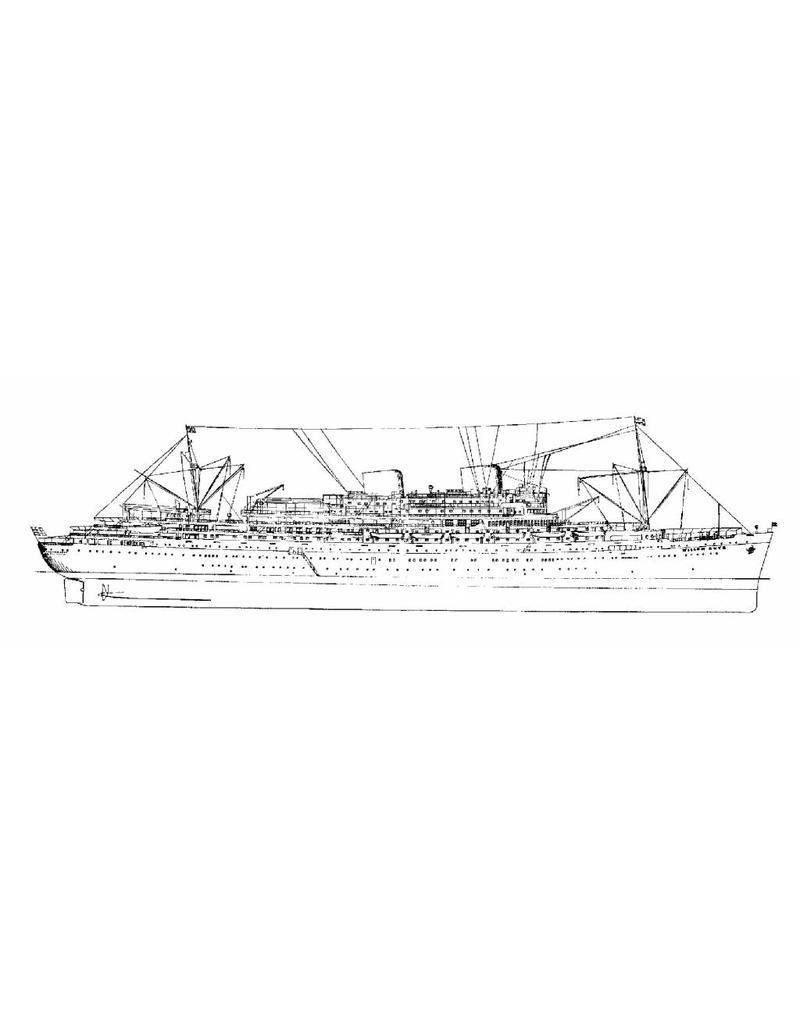 """NVM 16.10.004 passagiersschip ms """"Willem Ruys""""- (1939/1947) - Kon. Rott. Lloyd"""