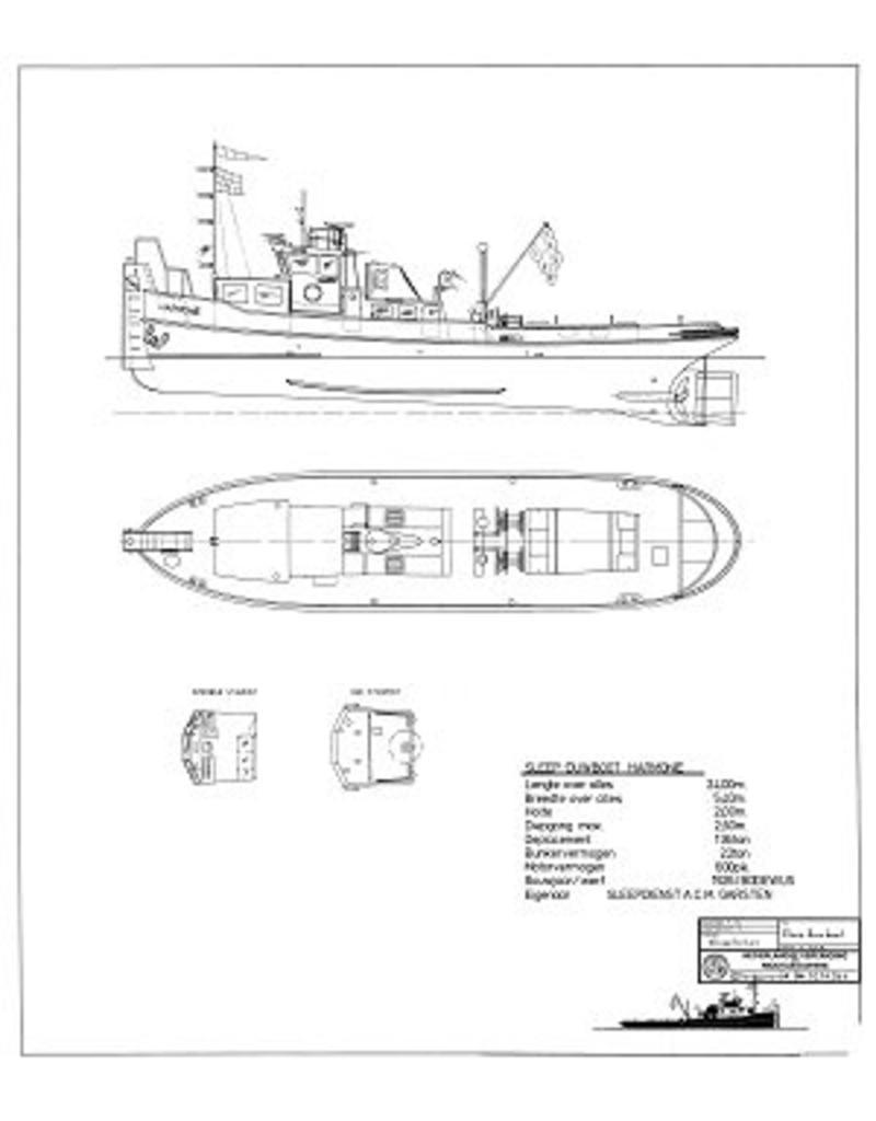 """NVM 10.14.044 duwsleepboot ms """"Harmonie"""" (1926) - A.C.M. Garsten, Zwijndrecht"""