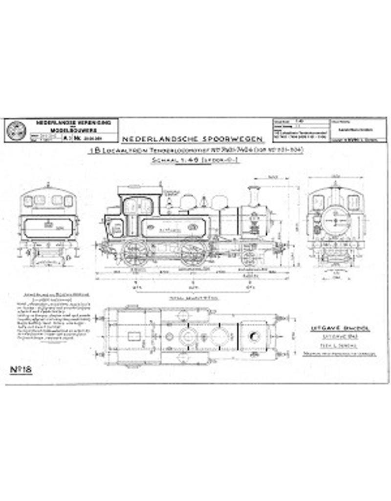 NVM 20.00.059 1-B lokaaltrein tenderlocomotief NS 7401-7404 (HSM 1101-1104) voor spoor 0