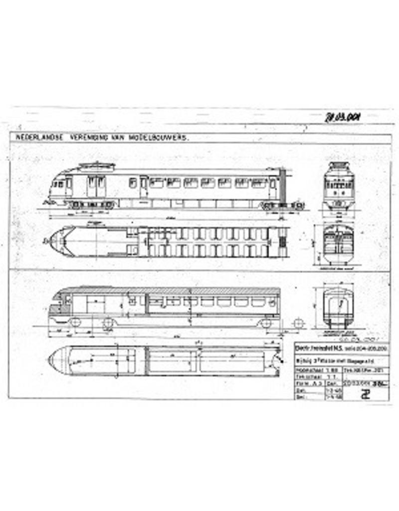 "NVM 20.03.001 2-wagenstel serie 201-208 (1935) (""Hoek van Hollander"") voor spoor H0"