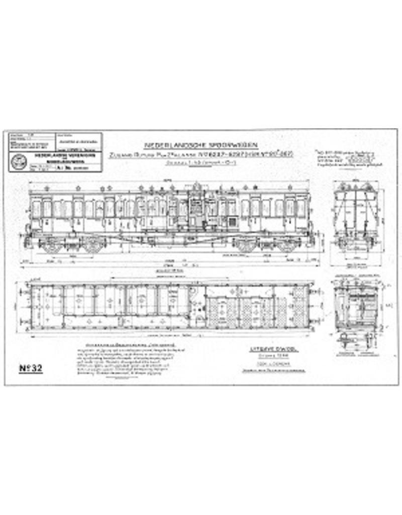 NVM 20.05.030 Zijgangrijtuig 1e en 2e klasse NS 6237-6287 (HSM 817-867) voor spoor 0