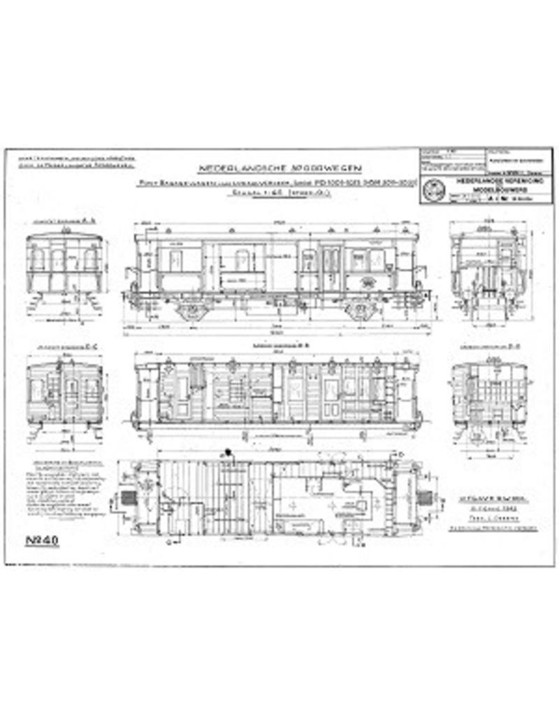 NVM 20.05.034 Post-bagagewagen voor lokaal verkeer Serie PD 1001-1023 (HSM 3011-3033) voor spoor 0