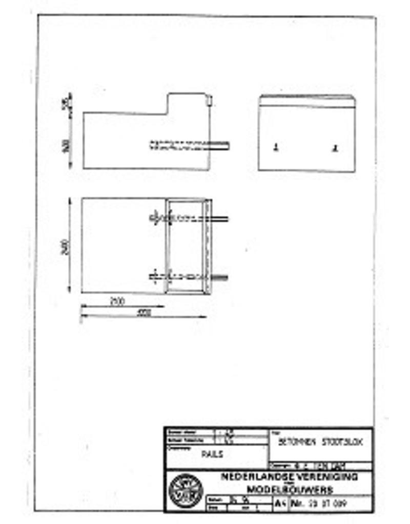 NVM 20.07.009 betonnen stootblok voor spoor 0