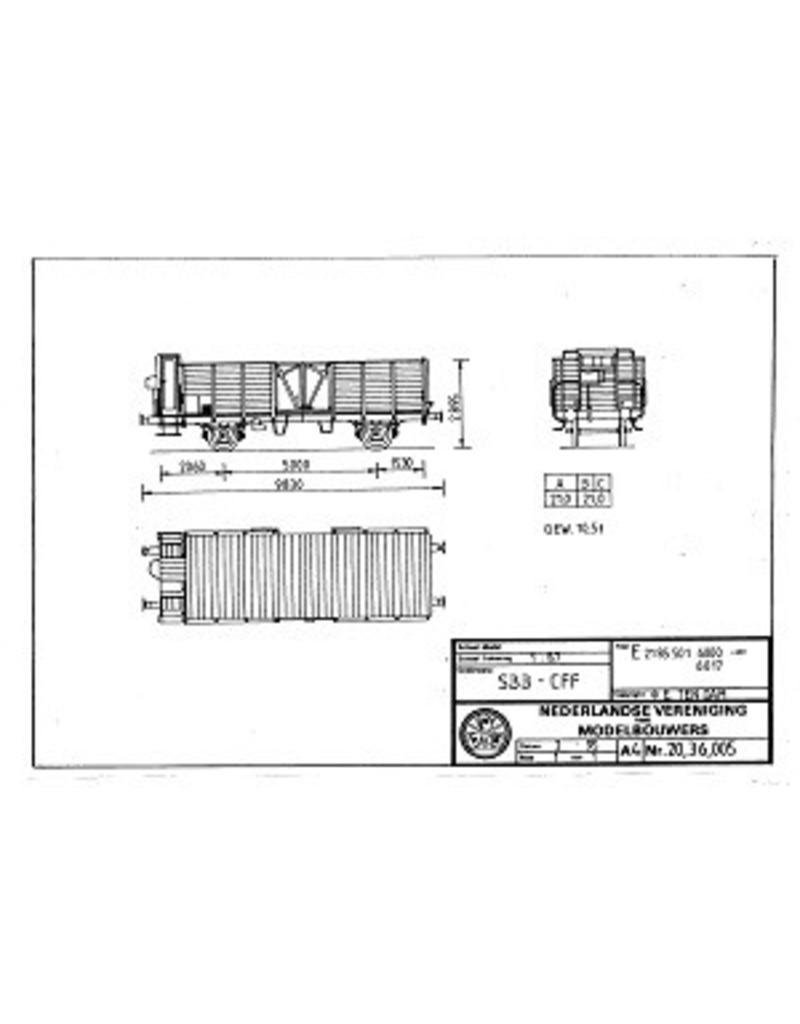 NVM 20.36.005 open goederenwagen E 2185.001 6000-6017 SBB-CFF voor spoor H0
