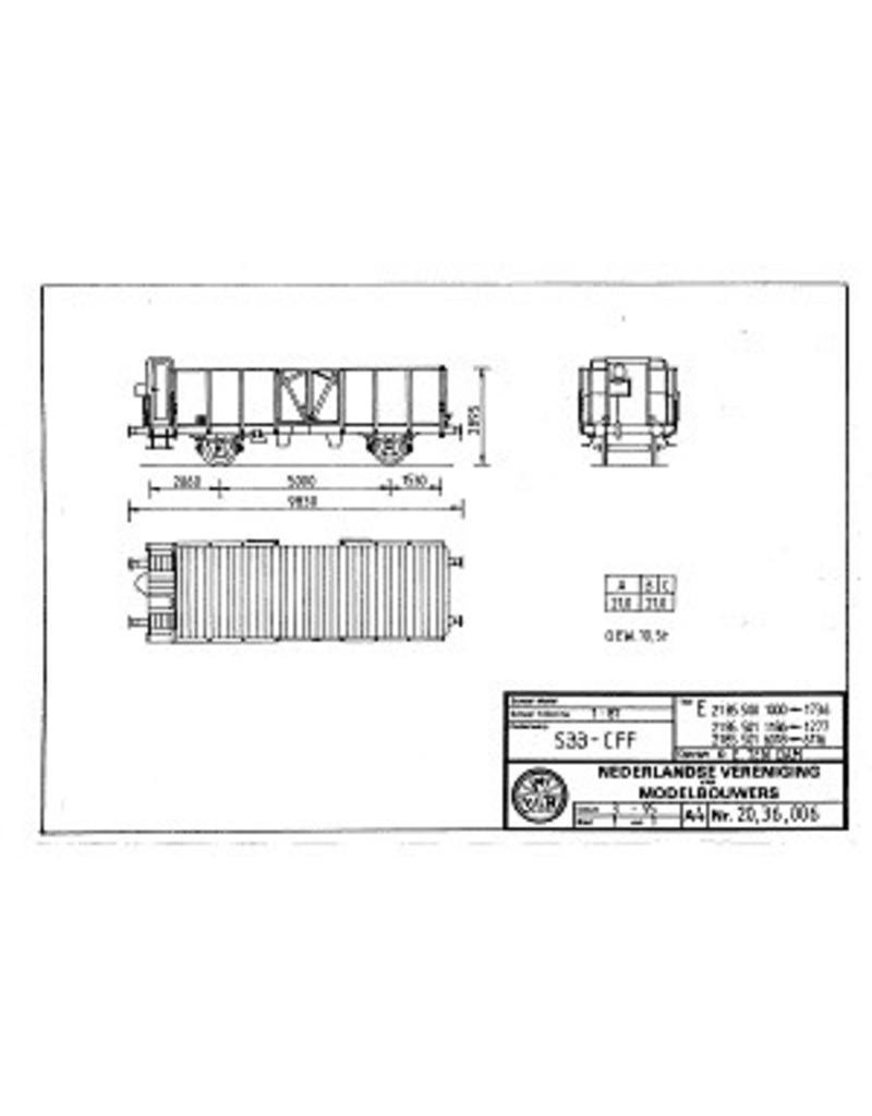 NVM 20.36.006 open goederenwagons E2185.500/501 diversen SBB-CFF voor spoor H0