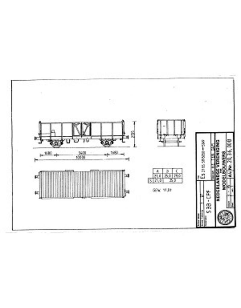 NVM 20.36.008 open goederenwagen Es 2185.519 5050-5249 SBB-CFF voor spoor H0