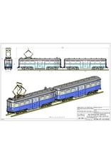 """NVM 20.73.041 CD - NZH motorrijtuig A 502 en aanhangrijtuig B 501 (Blauwe tram) voor spoor 1, 2,5""""spoor"""